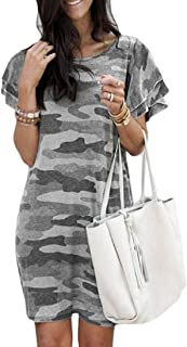 MK988 Women's Summer Short Sleeve Plus Size Crew Neck Camouflage Print Loose Beach Party Mini Dress