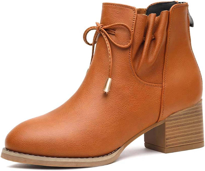 Women Genuine Leather Ankle Boots Winter Warm Zip Chelsea Boots Ladies Low Block Heel Black Size 34-40