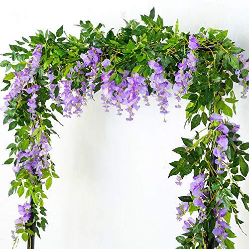 Lanyifang 4pcs Flores Artificiales de Seda Wisteria Garland Artificial Wisteria Vine Flor Colgante para Decoración de Hogar Jardín al Aire Libre Ceremonia Boda Floral Decor (Púrpura)