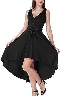 MAVIS LAVEN Women Vintage Sleeveless High Low Cocktail Party Swing Dress with Belt