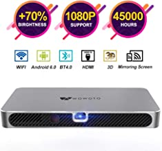 WOWOTO A8 Pro Mini Projector Portable 3800Lux Android 6.0 WiFi Wireless & Bluetooth 3D Video Projector LED with Speakers 45000 Hrs Support 1080P HDMI/TF/USB for Home Theater Office Gift