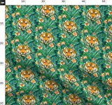 Tiger, Tiere, Dschungel, Botanisch, Illustration Stoffe -