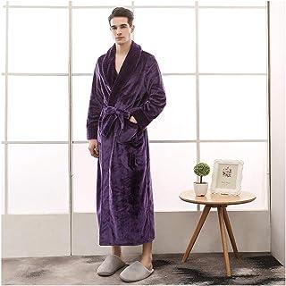 e655ed2cec8ab OMFGOD Les Hommes Peignoir De Flanelle Tricoté Hiver Allongement  Épaississement Occasionnels Thermique Pure Amoureux Pyjama