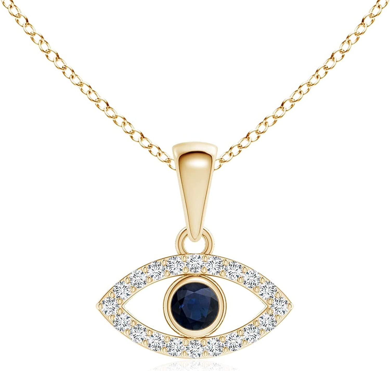 New product! New type Blue Sapphire Evil Eye Pendant Diamond with 2.5mm Accents Excellence
