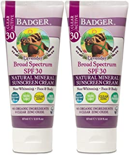 Badger - SPF 30 Lavender Clear Zinc Sunscreen Cream - Broad Spectrum Water Resistant Reef Safe Sunscreen, Natural Mineral ...