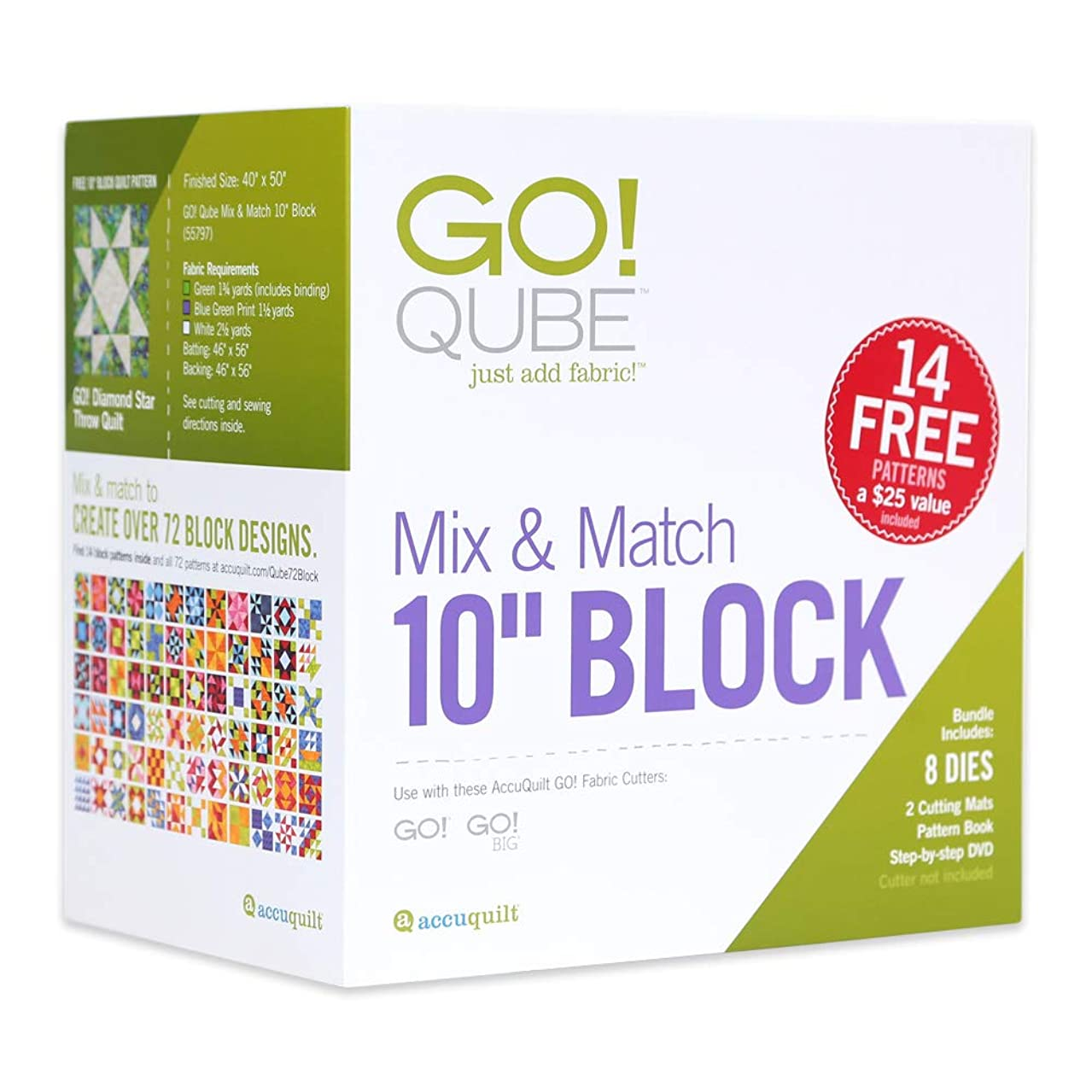 AccuQuilt GO! Fabric Cutting Dies; GO! Qube Mix & Match 10