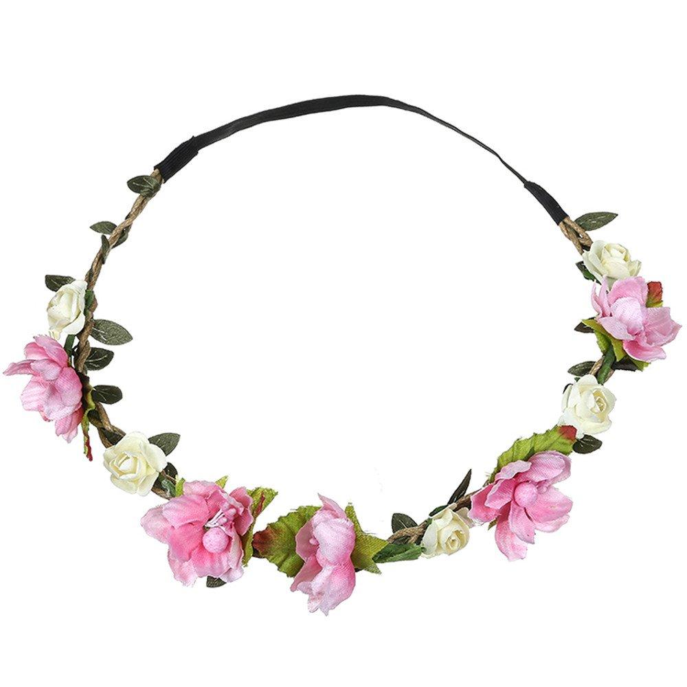 Holzkary Flower Wreath Boho Flower Headband Hair Wreath Hair Garland Floral Headpiece Wedding Party Festival Ornament(Pink-2)