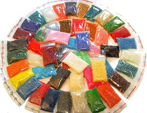 1 Kilo Rocailles 3mm 50 Pack 50 Farben Glas PERLEN Rund NEU 34000stk POSTEN Schmuckperlen Seed Beads AM11