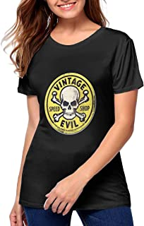 Slim Fit Soft Vintage Evil Speed Shop T Shirts for Women Great to Exercise Work Out Black