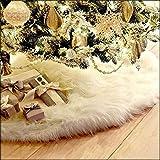 122cm Weiß Plüsch Weihnachtsbaum Rock - Christmas Tree Skirt - Runde Form Christbaumständer Weihnachtsbaum Decke Abdeckung für Weihnachtsbaum Verzierung Bodendekoration Weihnachtsdeko