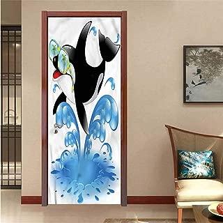 Funny,3D Door Wallpaper Murals Whale with Sunglasses DIY Art Home Decor Decoration W17.1xH78.7