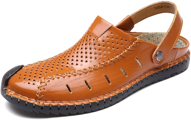 BAIF Mode Leder Sandalen Closed Toe Toe Leichte Einstellbare Sommer Slipper Mesh Komfortable Outdoor Fischer Wanderschuhe Herren Sommer Schuhe (Farbe  Rotbraun, Größe  8 UK)  zurückhaltende Luxus-Konnotation