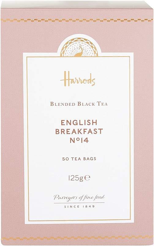 Harrods London No 14 English Breakfast 50 Tea Bags 125g 1 Pack NEW RANGE USA Stock