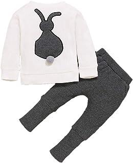 Fossen Kids, Fossen Conjunto Bebe Niña Otoño Mameluco de Conejo de Dibujos Animados + Pantalones - Ropa Bebe Recien Nacido Niña Invierno 3-18 Meses