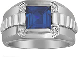 Esty /& Me Mens 9x7 Octagon Cut Simulated Sapphire Ring in Sterling Silver