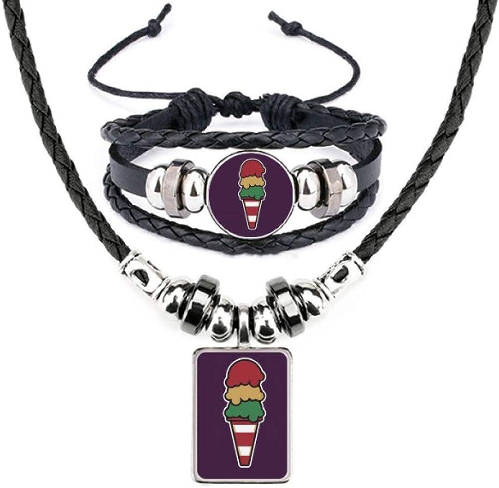 Three Layers Taste Sweet Ice Cream Necklace Bracelet Max 52% San Antonio Mall OFF Jew Leather