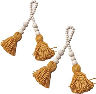 AceAcr 2PCS Wood Bead Garland Farmhouse Beads with Tassels Rustic Home Baby Room Decor (Yellow)