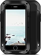 LOVE MEI iPhone 8/7 Aluminium Metal Case, Gorilla Glass Shockproof Dust Proof Military Grade Bumper Frame Heavy Duty Cover Shell Protector for Apple iPhone 8 (Black)