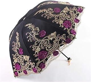 YWSCXMY-AU Folding Flower Umbrella Rain Female Folding Unique Lace Craft Sunscreen Umbrella (Color : Clear)