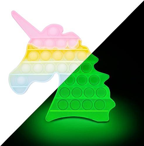 EVTI Pop Push Bubble Licorne - Jeu Pince Sensorielle Phosphorescent - Fidget Toy Adulte et Enfant, Anti-Stress Voyage...