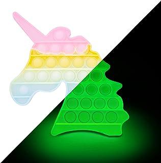 EVTI Pop Push Bubble Licorne - Jeu Pince Sensorielle Phosphorescent - Fidget Toy Adulte et Enfant, Anti-Stress Voyage, Ado...