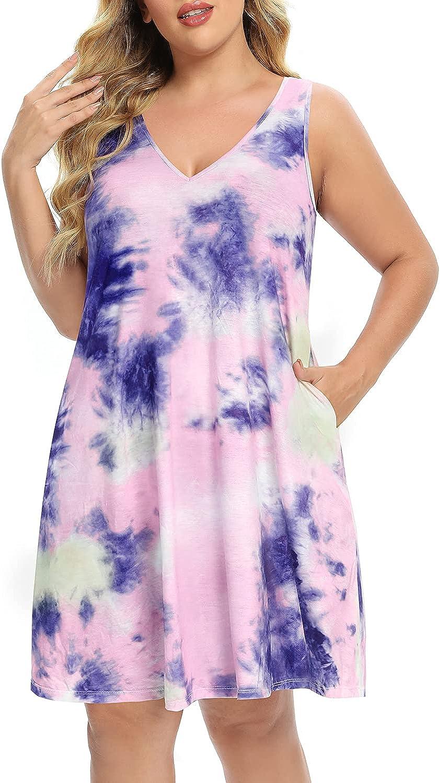 Pinup Fashion Plus Size Women Tank Dresses Sleeveless Criss Cross Back Cover Up T-Shirt Sun Dress with Pockets