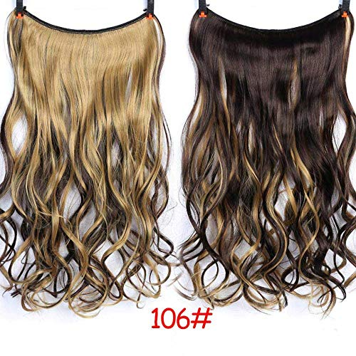 Perruque 24 Pouces De Fil Invisible Sans Clips Dans Les Extensions De Cheveux Postiches De Ligne De Poisson Secret Silky Wavy Synthetic Heat Resistant