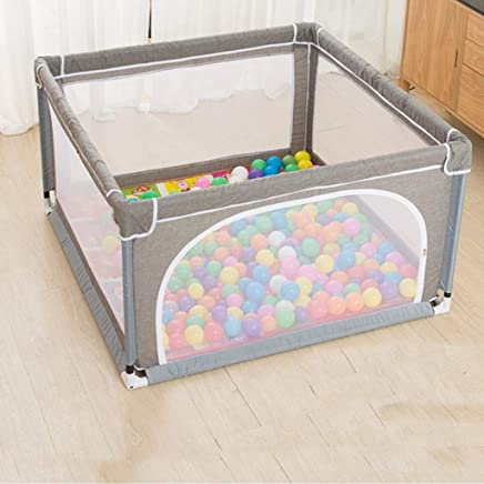 Hfyg Playpens Linen Ash Baby Playpen Safety Toddlers Room Divider With Protective Fence  Folding Anti-collision Baby pens  Size 120x150cm