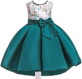 BestGift Summer Kids Dresses For Girls Wedding Dress Elegant Toddler Girls Princess Dress Children Evening Party Dresses Green Color