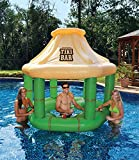 Inflatable Floating Tropical Tiki Bar for Swimming Pool, 7.5-Feet