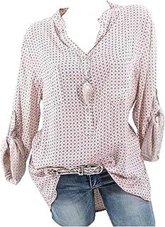 MK988 Women's Casual Summer V-Neck Polka Dot Print Long Sleeve Button Down Shirts Tops