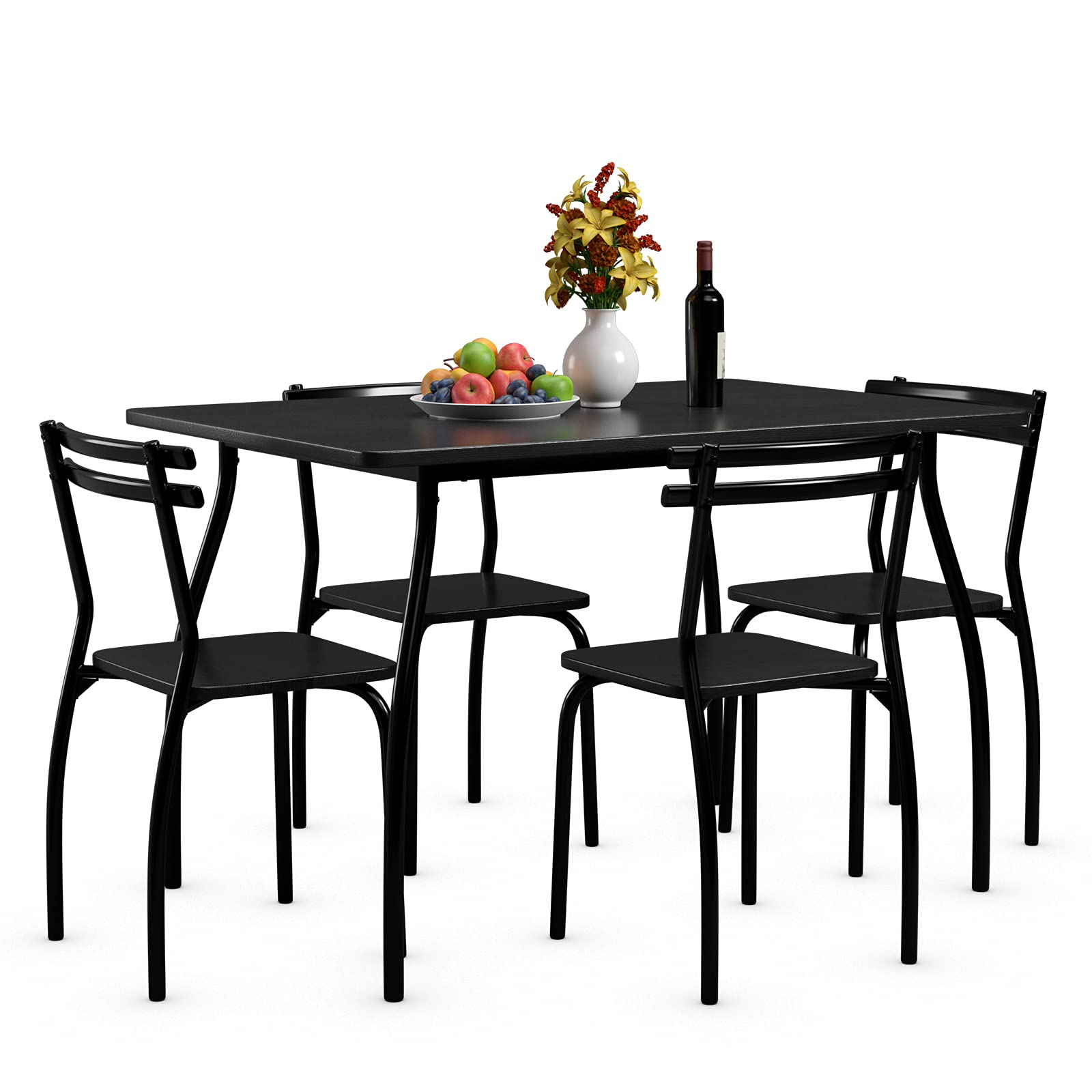 Giantex 9Pcs Dining Table Set for 9, Modern Metal and Wood Indoor  Rectangular Dining Table Furniture Set for Dining Room, Kitchen, Dinette,  Table and ...