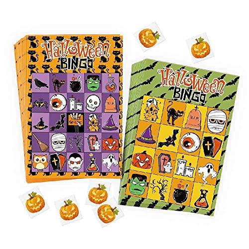 OLUYNG Juego de Bingo de Halloween Juego de Dibujos Animados Tarjetas para niños Niños