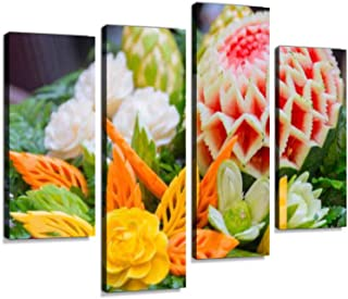 Thai Traditional Food Decoration Culture Fruit Carved Shape Flowers Canvas Wall Art Hanging Paintings Modern Artwork Abstract Picture Prints Home Decoration Gift Unique Designed Framed 4 Panel