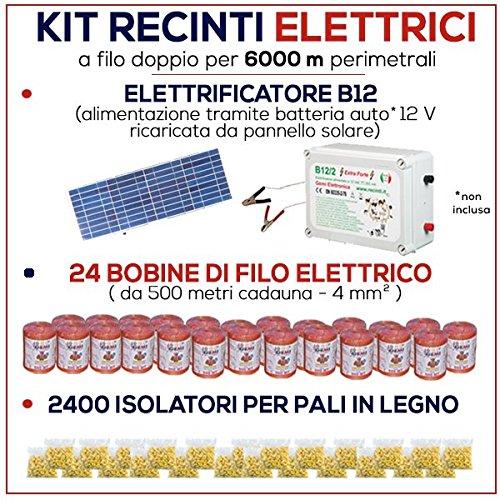 Kit für Weidezaun 6000 Meter - Solaranlage für Weidezaungerät + Weidezaun Litze + Isolatoren für Holzpfähle / eisenpfähle GEMI