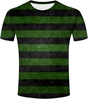 Survivcorner Fun Men's 3D Print Green Three - Dimensional Geometric Short Sleeve T-Shirts