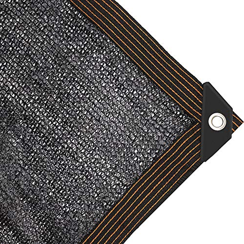 JIWINNER 65%-75% Black Sunblock Shade Cloth Taped Edge Grommets Garden Flower Plant,Greenhouse, Barn Kennel (6'x9')