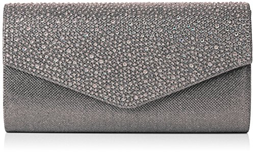 SwankySwans Damen Montary Glitter Diamante Envelope Clutch Bag Tasche, Grau, One Size