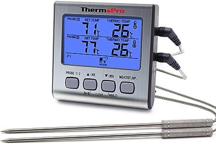 ThermoPro Termometro da cucina a cottura digitale con doppia sonda a carne Forno con timer per cucina, ampio display LCD, retroilluminazione blu