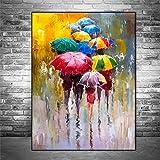 KWzEQ Pintura sin Marco Retrato Abstracto Pintura al óleo niña sosteniendo un Paraguas Imagen de Arte de Pared decoración del hogarAY6811 30X45cm