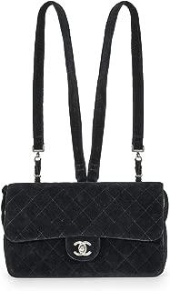 CHANEL Black Quilted Velvet Flap Backpack Medium (Pre-Owned)