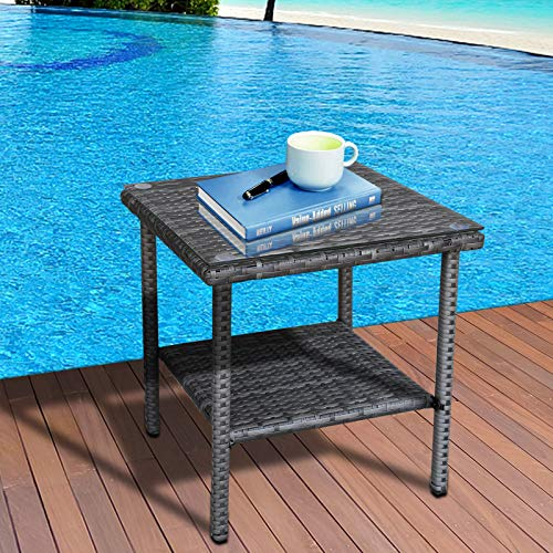 Valita Outdoor PE Wicker Side Table Glass Top Garden Poolside Small Patio Rattan Furniture Square End Table, Dark Grey