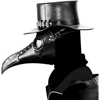 Amazon Com Skeleteen Medieval Doctor Plague Mask Black Faux Leather Bird Death Doctors Mask Costume Accessory Clothing