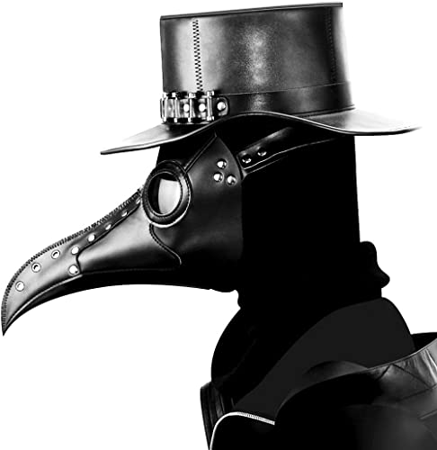 duduta PU Leather Plague Doctor Mask Breathable Long Nose Bird Face Mask Christmas Party Costume Prop