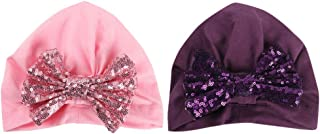 NUOBESTY 2Pcs Baby Turban Knot Hats Newborn Infant Toddler Hospital Cap Sequins Head Wrap (Pink and Purple)