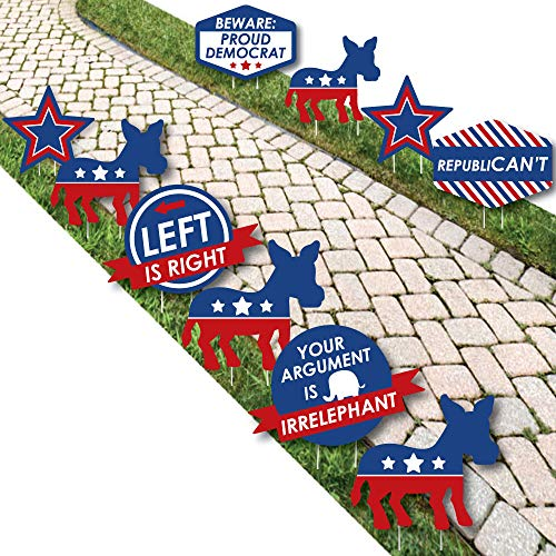 Big Dot of Happiness Democrat Election - Donkey Lawn Decorations - Outdoor Democratic Political 2020 Election Party Yard Decorations - 10 Piece