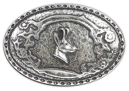 Trachten Gürtelschnalle, Gürtelschließe mit Gamsbock! Schließe mit Jagdmotiv, Trachtenaccessoires, Farbe Silber
