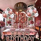 18 Cumpleaños Decoraciones, Globos Feliz Cumpleaños Oro Rosa Decoración Fiesta Cumpleaños, Suministros para Mujeres Adultos Decoración de Manteles,Confeti,Globos de Látex Impresos