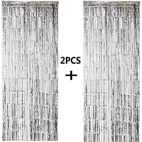 ONUPGO 2 Stück Silber Folienvorhänge Fransen, 1 m x 3 m, glänzendes Metallic-Lametta-Vorhang für Neujahr, Fotokabine, Türvorhang, perfekt für Geburtstag, Hochzeit, Weihnachten, Party-Dekorationen