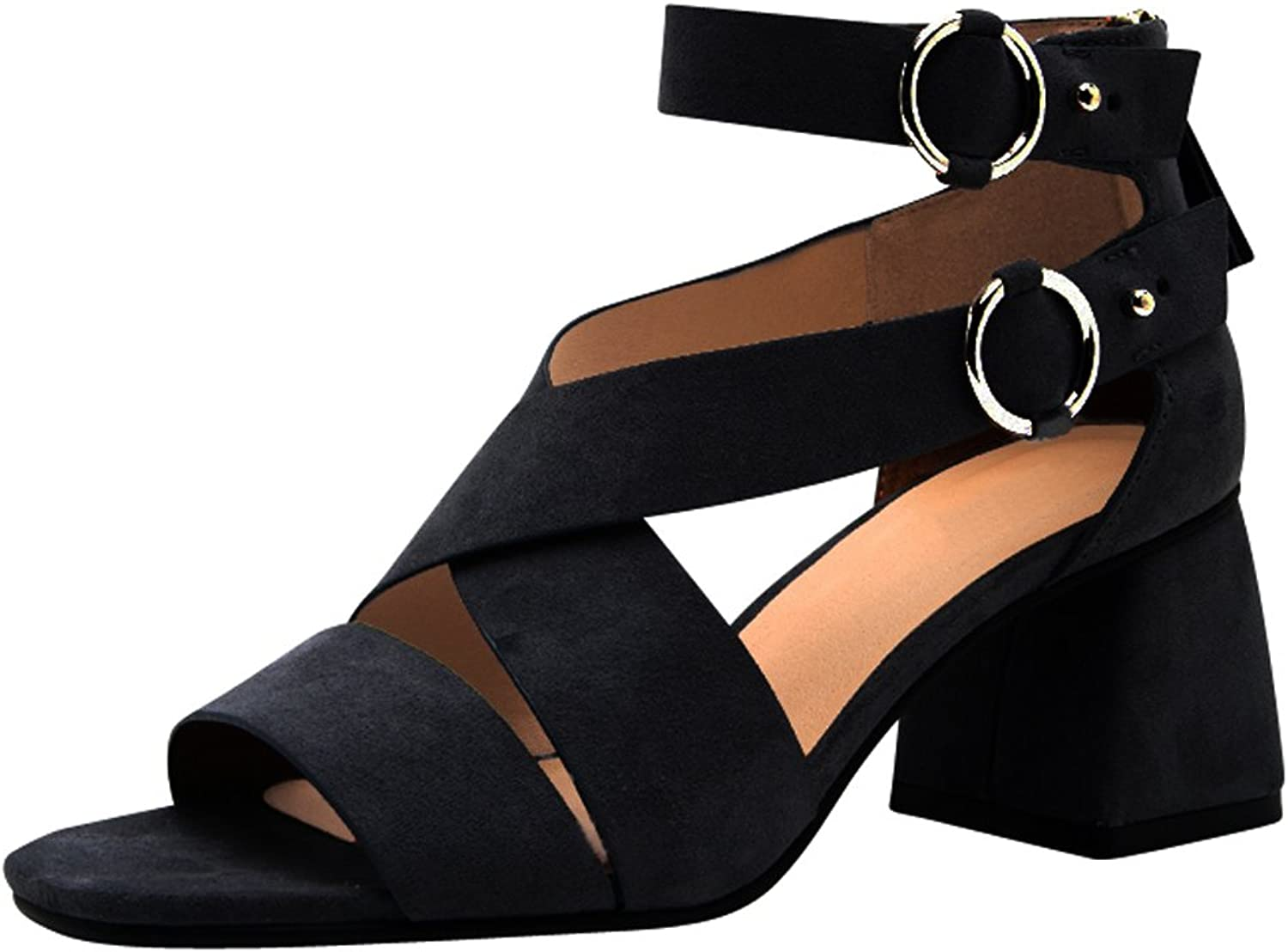 Cambridge Select Women's Open Toe Crisscross Buckled Ankle Strap Flared Sculptural Chunky Block Heel Sandal